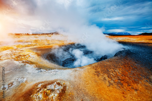 Tuinposter Vulkaan Ominous view geothermal area Hverir (Hverarond). Location place Lake Myvatn, Krafla, Iceland, Europe.