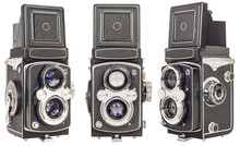 Three Same Make Old Twin Lens Reflex Cameras Isolated On White Background