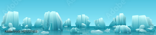 Valokuva  Vector wide web banner illustration of arctic landscape with icebergs and mountains