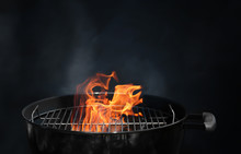 Empty Grill With Flame