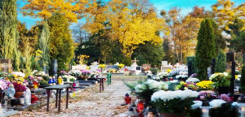 Keuken foto achterwand Begraafplaats Herbst auf dem Friedhof