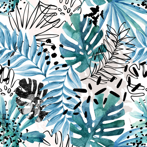 Photo sur Toile Empreintes Graphiques Abstract exotic leaves seamless pattern.