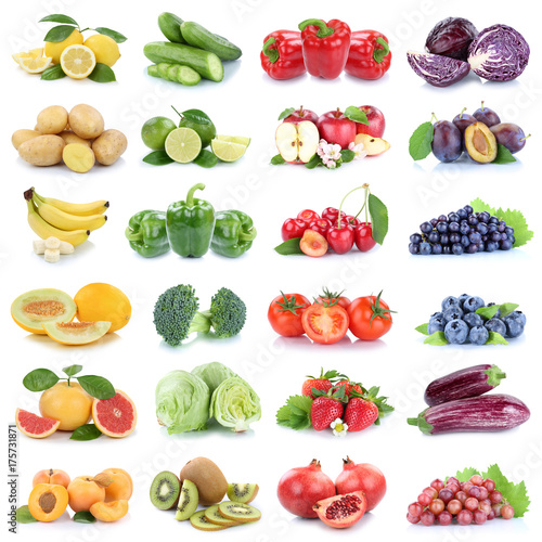 Plakat Owoce i warzywa owoce jabłko truskawki cytryny pomidory kolory kiwi kolaż wyciąć na białym tle