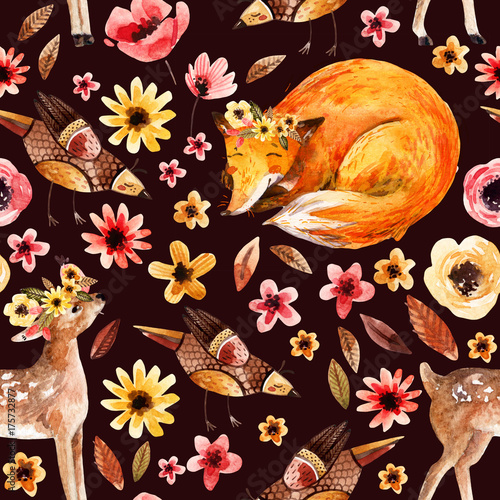 Cotton fabric Cute watercolor animals on floral background.