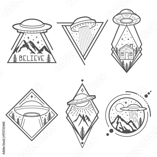 Photo  Set of six UFO emblems, labels, badges or logos