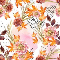 Fototapeta Inspiracje na jesień Autumn watercolor floral seamless pattern.