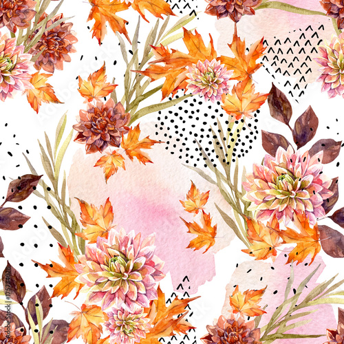 Poster de jardin Empreintes Graphiques Autumn watercolor floral seamless pattern.