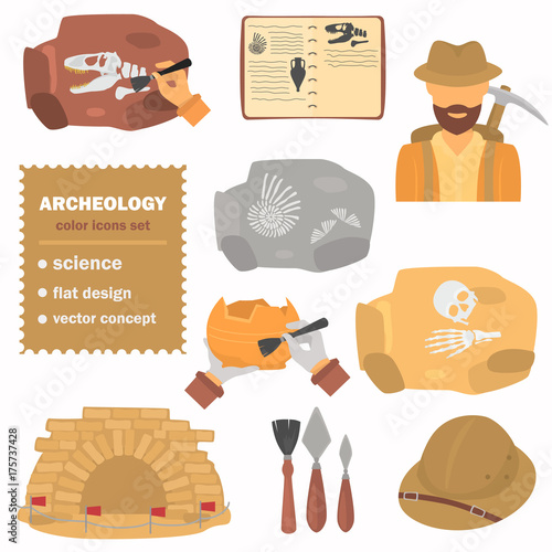 Photo Archeology color flat icons set for web and mobile design