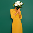 Leinwanddruck Bild - Sensual vintage Lady with a bouquet of peonies. Spring Style minimal fashion
