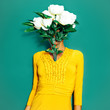 Leinwanddruck Bild -  Vintage Lady with a bouquet of peonies. Spring Style minimal fashion art
