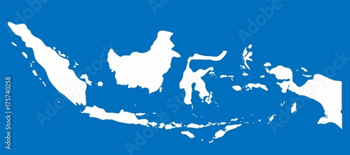 White Indonesia map on blue background, Vector Illustration Canvas Print