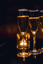 Champagne Filled Glasses.