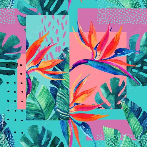 Fotobehang Grafische Prints Abstract tropical summer design in minimal style.