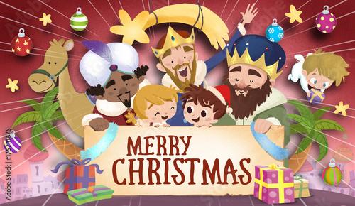 Valokuva  Feliz navidad con reyes magos camellos y niños
