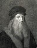 Autoportret Leonarda da Vinci, włoski renesansowy polimat (z Spamer's Illustrated World History, 1894, 5 [1], 124) - 175743421