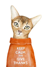 Keep Calm And Give Thanks Creative Poster With A Closeup Portrait Of A Cute Abyssinian Cat. Thanksgiving Day Card, Invitation, Motivation. Watercolor Illustration Isolated On A White Background