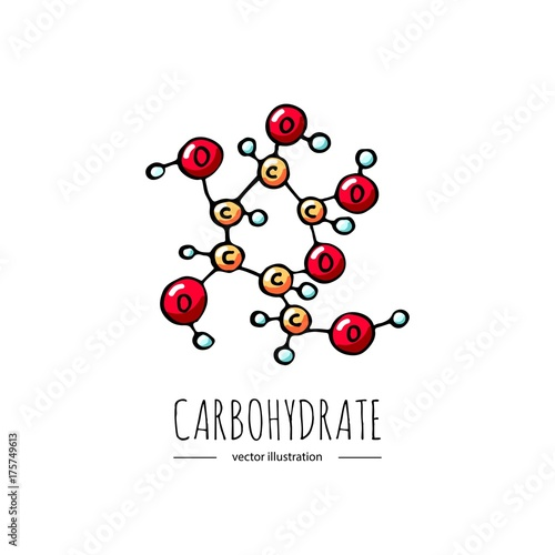 Cuadros en Lienzo Hand drawn doodle Carbohydrate chemical formula icon Vector illustration Carbs d