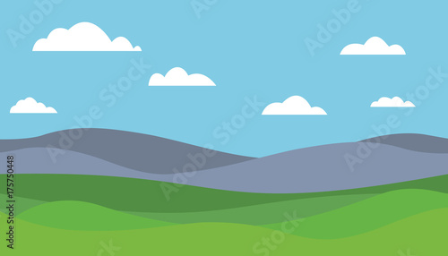 Foto op Canvas Pool Cartoon colorful vector flat illustration of mountain landscape with meadow under blue sky