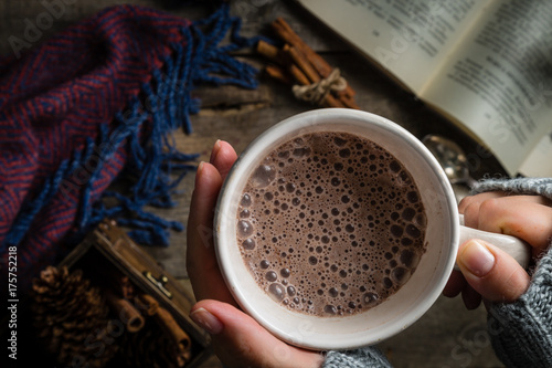 Foto auf Gartenposter Schokolade Winter hot chocolate on rustic background