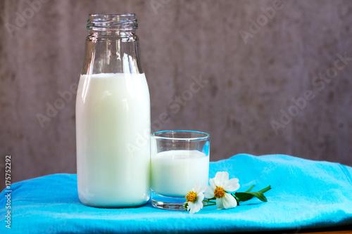 Plakat Mleko w butelce i w szklance.