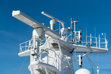 Radar Antenna On The Mast Of A Cruise Ship