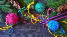 Multicolored Yarn Balls, Needl...