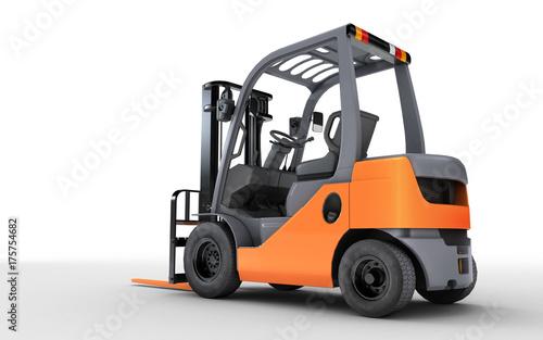 Plakat 3d renderingu forklift ciężarówka odizolowywająca na białym tle. Widok z tyłu