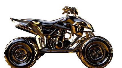 3d rendering of a golden motorcycle on isolated on a white background