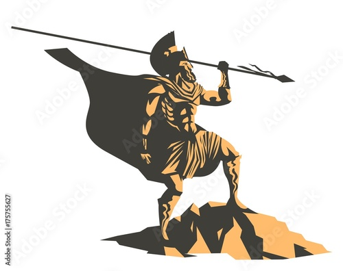 Photo  spartan soldier with spear