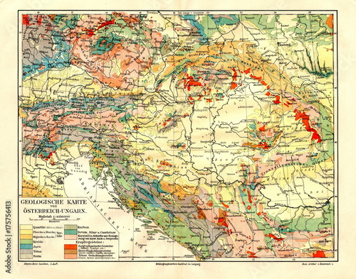 Photo Geological map of Austria-Hungary (from Meyers Lexikon, 1896, 13/282/283)
