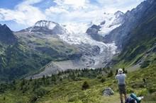 Admiring A Glacier On The Tour Du Mont Blanc