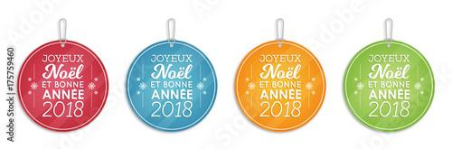 Fotografie, Obraz  Étiquettes - Joyeux Noël et Bonne Année 2018