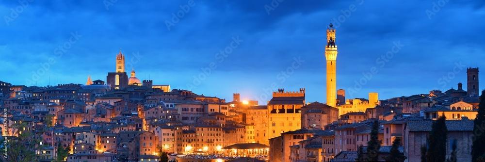 Fototapety, obrazy: Siena panorama view at night