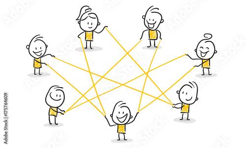 Cuadros en Lienzo Strichfiguren / Strichmännchen: Netzwerk, Internet, Zusammenarbeit