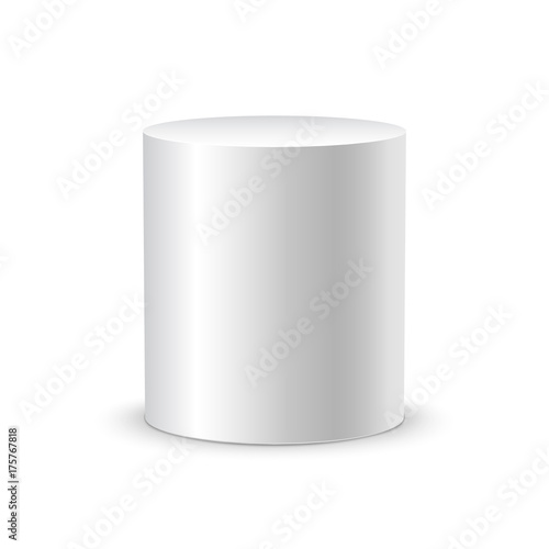 Cuadros en Lienzo White cylinder on white background isolated