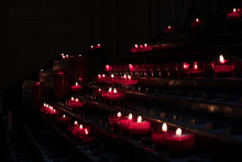Red Candles Lit In A Church. R...