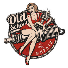 Spark Plug Pin Up Girl (col...