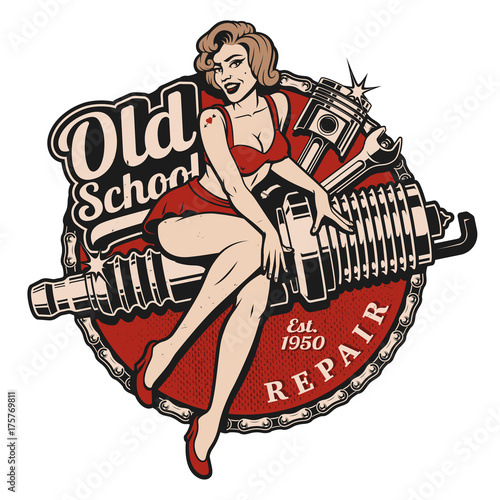 Fotografie, Obraz Spark Plug Pin Up Girl (color version)