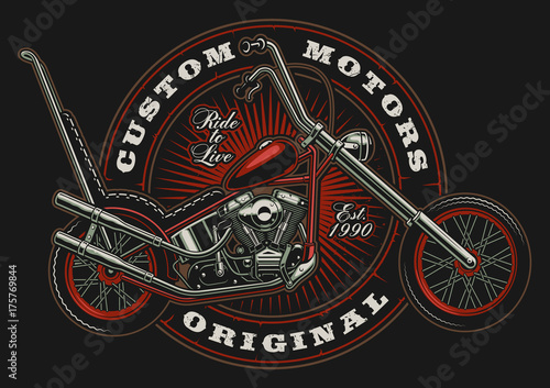 Vintage claccic chopper illustration Wallpaper Mural
