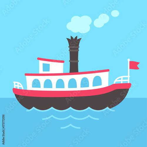 Cartoon steamboat ship Canvas-taulu