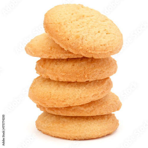 Foto stacked short pastry cookies isolated on white background