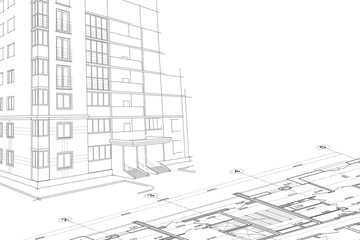 Architectural drawing. Sketch