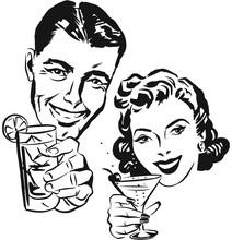 Smiling 1950s Couple Raising A...