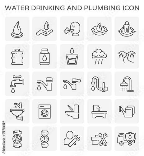 Cuadros en Lienzo  Vector line icon of water drinking and plumbing.