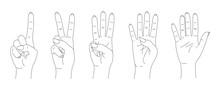 Finger Count Vector, Hands Sketch Set