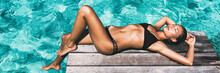 Luxury Travel Bikini Girl Vacation Banner. Asian Woman Sun Tan Over Idyllic Ocean Water In Bora Bora Tahiti, French Polynesia Island. Panoramic Horizontal Crop Of Exotic Holiday.