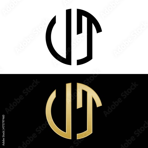 ut initial logo circle shape vector black and gold Wallpaper Mural