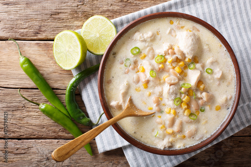 Fotografie, Obraz  White chili chicken with beans, corn and spices