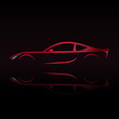 Red sports car. Silhouette on black background. Vector illustration.