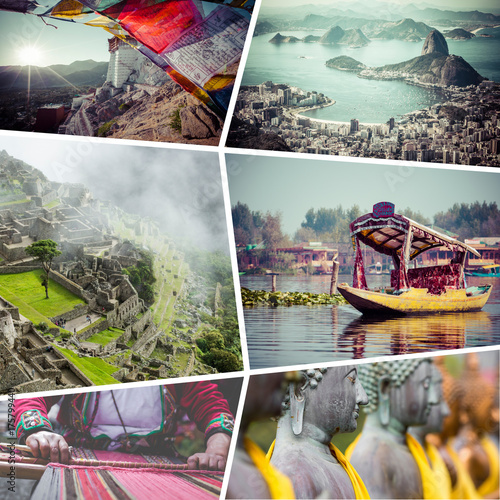 In de dag Illustratie Parijs Collage of images from around the World - travel background (my photos)